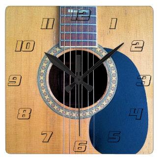 Horloge Carrée Ficelle du cuirassé 6 de guitare acoustique