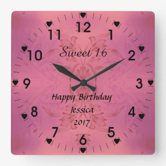 Horloge Carrée Floral rose du bonbon 16