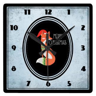 Horloge Carrée Fox mignon dans le casquette de Noël à l'intérieur