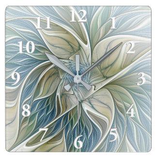 Horloge Carrée Fractale kaki bleue d'abrégé sur rêveur floral