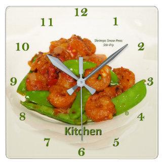 Horloge Carrée Friture de Stir d'huître de pois de neige de