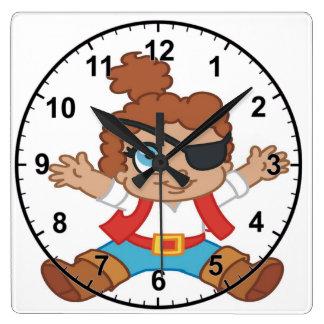 Horloge Carrée Garçon de pirate