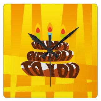 Horloge Carrée Gâteau de joyeux anniversaire d'illustration avec
