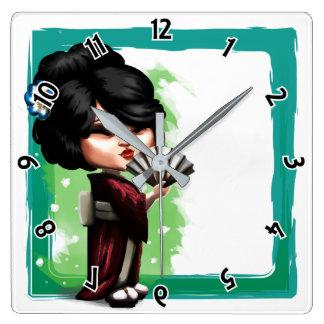 Horloge Carrée Geisha de Kawaii
