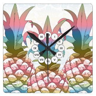 Horloge Carrée Gradient en pastel ID246 d'ananas