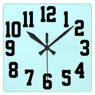 Horloge Carrée Grand facile contrasté de nombres lu