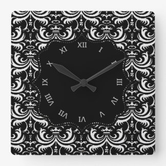 Horloge Carrée Grande damassé audacieuse (blanche)