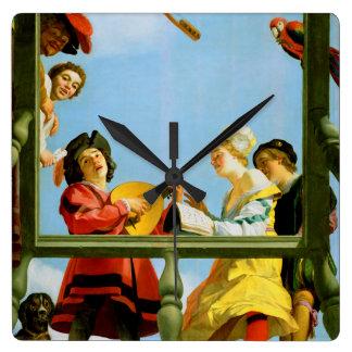 Horloge Carrée Groupe musical sur la peinture néerlandaise de