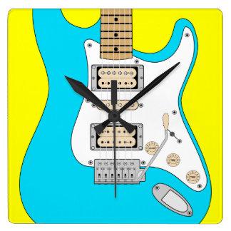 Horloge Carrée Guitare bleue électrique