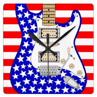 Horloge Carrée Guitare électrique américaine