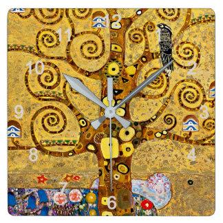 """Horloge Carrée Gustav Klimt , """" Tree of life """""""
