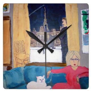 Horloge Carrée Habitant la vie à Paris