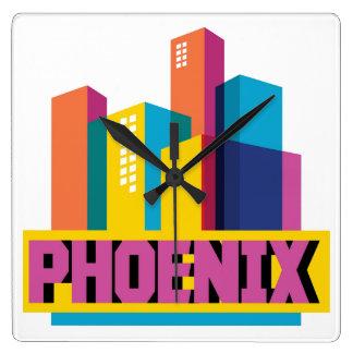 Horloge Carrée Horizon au néon de Phoenix, Arizona |