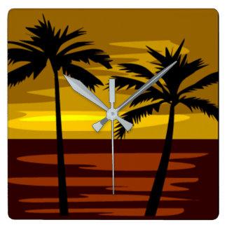 Horloge Carrée Île tropicale