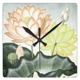 Horloge Carrée Jardin de l'eau de Lilypads de fleurs de Lotus de
