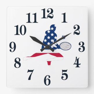 Horloge Carrée Joueur d'Américain de tennis des Etats-Unis