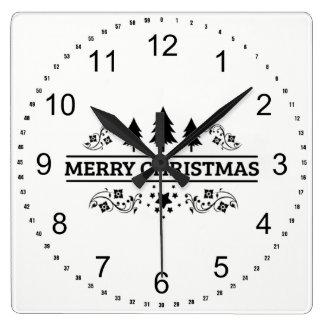 Horloge Carrée Joyeux Noël blanc noir