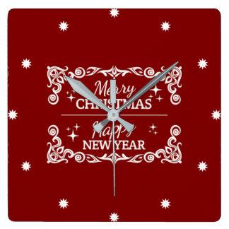 Horloge Carrée Joyeux Noël et bonne année rouges et blancs