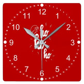 Horloge Carrée Joyeux Noël rouge et de blanc Ho Ho Ho
