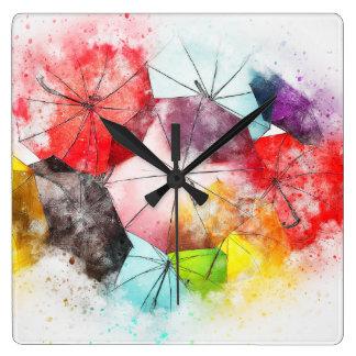 Horloge Carrée La brigade glorieuse de parapluie