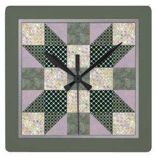 Horloge Carrée La lavande de bloc d'édredon d'étoile de