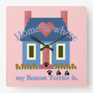 Horloge Carrée La maison de Boston Terrier est