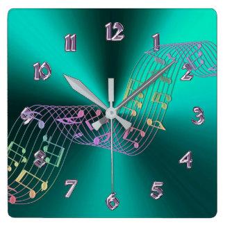Horloge Carrée La musique métallique turquoise note l'horloge