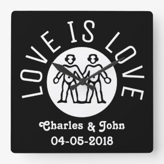 Horloge Carrée L'amour est blanc noir du gay pride LGBT de