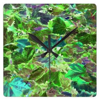 Horloge Carrée Le beau vert abstrait laisse le feuillage