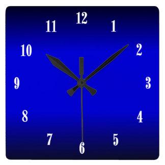 Horloge Carrée Le blanc électrique de bleu de cobalt numéro