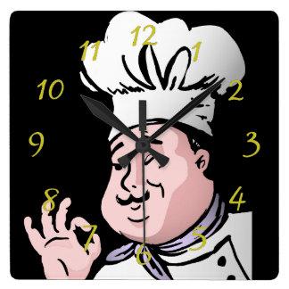 Horloge Carrée Le chef approuvent
