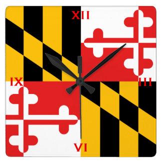 Horloge Carrée Le drapeau officiel de l'état du Maryland