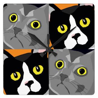 Horloge Carrée Les chats de George et de Lucas soustraient