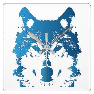 Horloge Carrée Loup de bleu glacier d'illustration