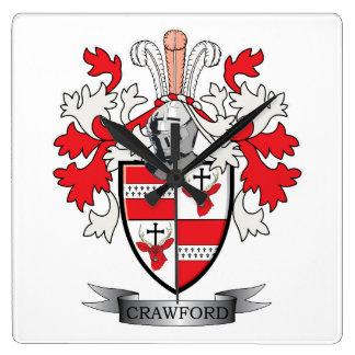 Horloge Carrée Manteau de crête de famille de Crawford des bras