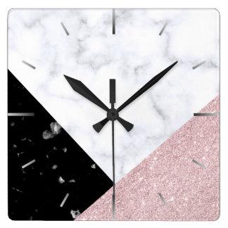 Horloge Carrée Marbre noir blanc de parties scintillantes roses