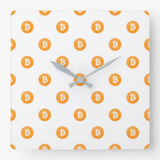 Horloge Carrée Motif de logo de Bitcoin