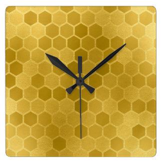 Horloge Carrée Motif d'hexagone d'or jaune de Faux