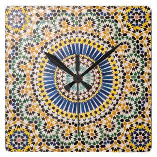 Horloge Carrée Motif géométrique de tuile, Maroc