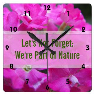Horloge Carrée Mots à se rappeler, denteler décoratif floral