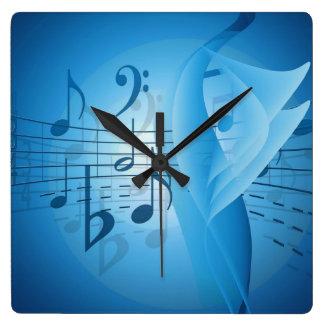 Horloge Carrée Musique dans le bleu