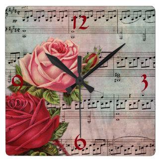 Horloge Carrée Musique de feuille avec l'horloge murale de roses