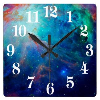 Horloge Carrée Nébuleuse d'Orion miroitant la NASA bleue