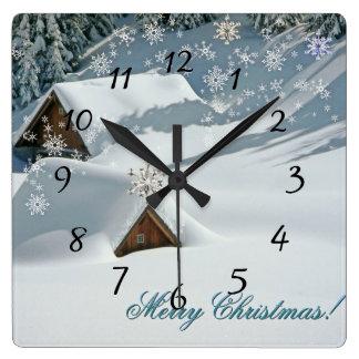 Horloge Carrée Noël blanc a couvert la neige