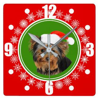 Horloge Carrée Noël mignon de casquette de Yorkshire Terrier Père