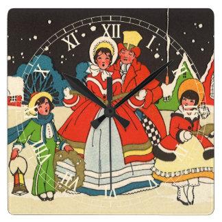 Horloge Carrée Noël vintage, hymnes de louange d'une musique de