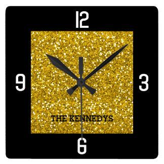 Horloge Carrée Noir et nom de famille Bling de scintillement d'or