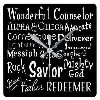 Horloge Carrée Noms de Dieu de la bible en noir et blanc