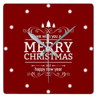 Horloge Carrée Nouvelle année de Noël rouge et blanc