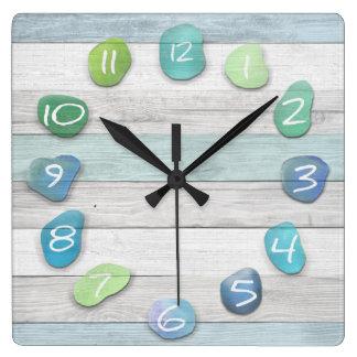Horloge Carrée Océan en verre de bois de flottage de plage de mer